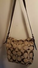 COACH Handbag F15067 Khaki/Mahogany Signature Fabric Shoulder Cross Body Strap