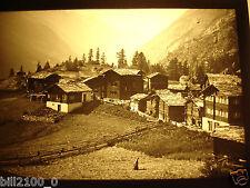photo ancienne . plaque verre positif . Suisse . Zermatt . vers 1900