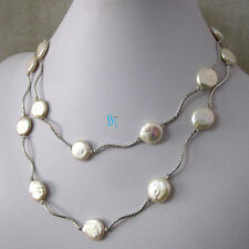 "35"" 13-14mm White Coin Freshwater Pearl Necklace Tube W UK"