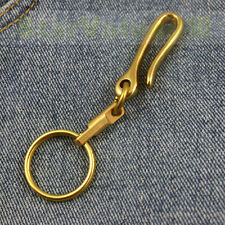 Solid Brass Metal Keychain Keyring Key Holder Ring Hook Clip Fishhook Style