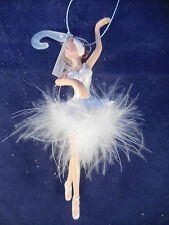 """PLATIC BALLERINA WITH WHITE FEATHER TUTU 6 1/4"""" NEW"""