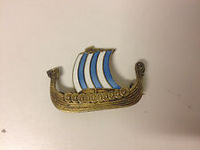 Vtg Danish Modern Signed Sterling Silver Enamel Scandinavian / Viking Ship Pin