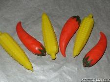 VINTAGE 80s SET OF 6 CHILLI & CORN ERASERS STOCKING FILLER CHRISTAS GIFT