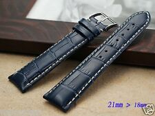 Genuine leather 21mmx18mm BLUE replacement Band.Strap bracelet Longines Big Date