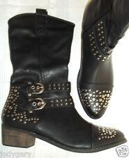 NEW WOMENS MOTORCYCLE BLACK COWBOY SILVER STUDS BUCKLES VEGAN FRIENDLY BOOTS 7 M