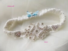 WEDDING GARTER ZARA CRYSTAL HEARTS IVORY VINTAGE LACE BRIDAL GIFT