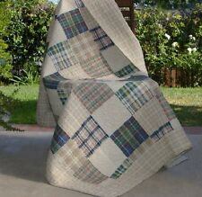 Quilted Throw For Sofa Plaid Squares Cotton Blanket Reversible Chair Lap Cover