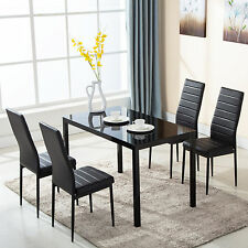 5 Piece Glass Metal Dining Table Furniture Set 4 Chairs Breakfast Kitchen Room