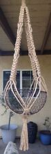 "Hippie VTG Style hand Made Macrame plant hanger art design NO beads 40"" Jute"
