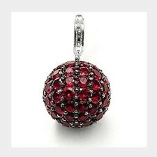 New Genuine Thomas Sabo Sterling Silver Synthetic Garnet Pave Ball Pendant T0254