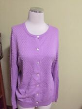 Lands' End Lavender Purple Diamond Weave Supima Cotton Cardigan Sweater XL EUC