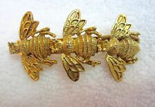 Jewelry Quality Bee Barrette Hair Clip Gold Tone France Vintage --Superb!
