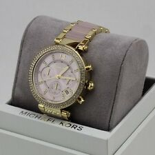 NEW AUTHENTIC MICHAEL KORS PARKER GOLD CRYSTALS PINK BLUSH WOMEN'S MK6326 WATCH