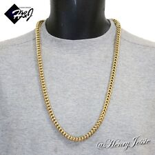 """30""""MEN's Stainless Steel HEAVY 8mm Gold Smooth Cuban Curb Box Chain Necklace"""
