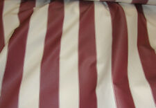 """Waterproof Upholstery Burgundy White Striped Outdoor Canvas fabric 600 60"""" wide"""