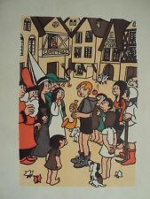 GRAVURE EN COULEUR DE JEAN EFFEL 1943 LE GARCON JOUE DE LA MUSIQUE AUX CITADINS