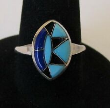 Native American Zuni Turquoise Shadowbox Ring Size 6.5