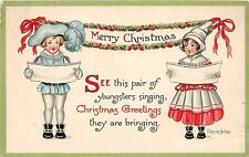 Merry Christmas Holiday Postcard c1910 EVELYN Hartmann Signed Kids Singing 169