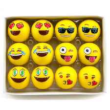 12pk Yellow EMOJI Novelty Sports Golf Balls Kissy Face Emoticons Game Gift