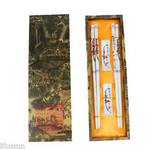 2Pairs Chinese Handmade Vintage Porcelain Chopsticks& Support With Gift Box AAA