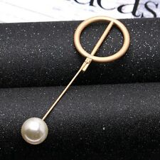 1x Womens Accessories Gold Circle Brooch Collar Suit Stick Breast Lapel Pin