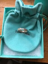 Tiffany & Co. Narrow Woven Ring Sterling Silver Diamonds Wedding Engagement