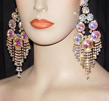"GOLD BRIDAL WITH AB IRIDESCENT RHINESTONE CRYSTAL 6"" CHANDELIER PARTY EARRINGS"