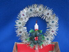 Christmas Candle Light Lighted Tree Top Topper Tinsel Vintage