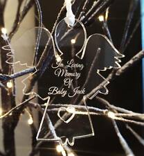 """personalised ,,in loving memory of"""" clear acrylic angel 8cm NEW xmas"""