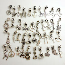 Wholesale 40pcs Lots Tibetan Silver Charm Beads Fit European Chain Bracelet