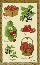 BEAUVILLE, FRUITS ROUGES (RED FRUIT) VIVID FRENCH KITCHEN / TEA TOWEL, NEW