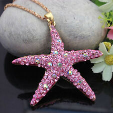 New Betsey Johnson fashion jewelry Pink crystal starfish # N035