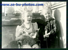 vintage photo PRETTY LITTLE GIRLS W/ PET RABBIT 1960s