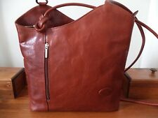 THE LEATHER brown leather convertible shoulder bag/backpack ~ made in Itay