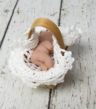 1.5 inch  Naked Polymer Clay Baby in Basket