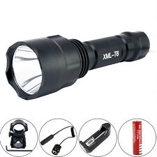 Tactical Hunting Gun Rail Braket 2400LM CREE XM-L t6 LED 18650 flashlight light