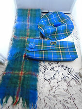 Lot Vintage Nova Scotia Tartan NS Scarf Handbag Earrings Beret The Eastern Cap
