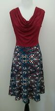 NWOT Modcloth Pretty Packages Dress in Spanish Tile M Cowl Neck Twofer by Gilli