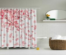 Pink Japanese Cherry Blossoms Flowers Fabric Shower Curtain Digital Art Bathroom