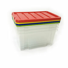 4 x 7LITRE BOX! 7LITRE PLASTIC STORAGE BOXES  CHEAP & GREAT VALUE COLOURED LIDS