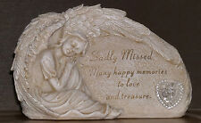 SOLAR MEMORIAL ANGEL WITH SADLY MISSED VERSE FOR CEMETERY GRAVESIDE ORNAMENT