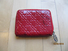 Coach Signature Patent Glossy Embossed Leather Zip Around Accordion Mini Wallet