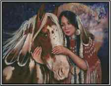 Cross Stitch Chart NATIVE AMERICAN Girl with Horse #21-117 (Large Print)