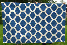 Heavy Blue White Wool Pile Hand Knot Knit Reversible Area Throw Rug 5' x 8'