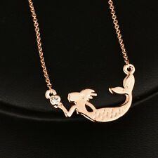 2017 New Charm Women Mermaid Choker Necklace Chain 18k Rose Gold Plated