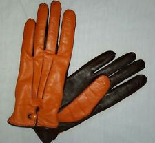 Carolina Amato New York Orange Brown Button Leather Driving Gloves Womens Small