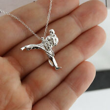 Taekwondo Fighter Necklace - 925 Sterling Silver - Martial Arts Pendant Karate