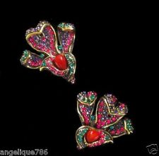 """Heidi Daus """"Calla Lily"""" Crystal-Accented Clip Earrings SWAROVSKI CRYSTALS LOVELY"""
