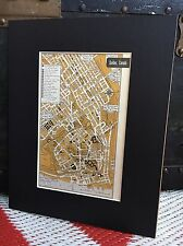 "City Map of Quebec Canada 1958 Mid Century Black Matted 8""x10"" Art Print travel"