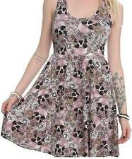 2X~sexy~SKULL~punk~ROSE~TATTOO~rockabilly~BABY DOLL~pink~DRESS plus torrid jewel